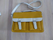 Yellow and White Leather Satchel Handbag Purse ~ Briefcase Style...CUTE
