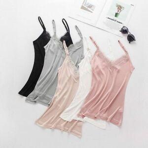 50% Silk V neck Lace Camisole Top Vest Shirt Sleepwear Spaghetti Strap SS005