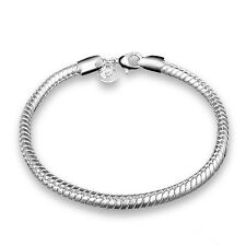 Silver Plated 925 Snake Chain Charm Threader Link Bracelet Bangle. 4 mm . 1632