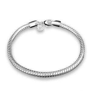 Silver Plated 925 Snake Chain Charm Threader Solid Link Bracelet Bangle 3mm 1666