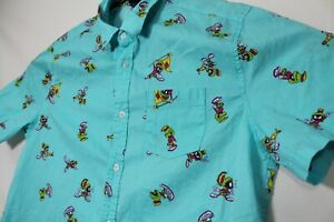 Looney Tunes Marvin The Martian Mens Short Sleeve Button Up Shirt Size M