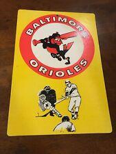 """VINTAGE 1970s MLB FLEER BIG Baltimore Orioles  8"""" X 11""""  CARDBOARD SIGN"""