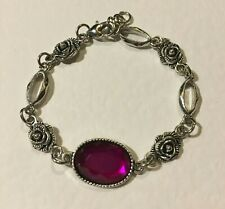 VICTORIAN STYLE FACETED MAGENTA PURPLE ACRYLIC DK SILVER PLATED ROSE BRACELET RS
