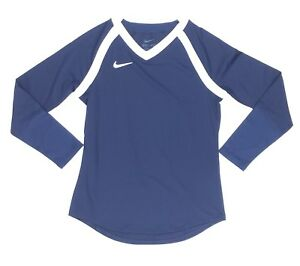 Nike Youth Girl's Long Sleeve Volleyball Jersey Youth Medium Navy White 836322