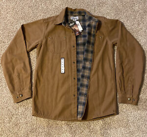 Carhartt Canvas Button Up Plaid Lined Jacket Dark Brown Youth Boys Size XL NWT