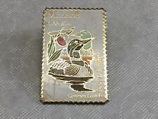 Vintage USPS Minnesota 20 Cent Stamp Pin Common Loon & Showy Lady Slipper 1982
