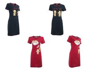 Nightdress Nightie Womens Cotton Blend Ladies Short Sleeve Printed Pullover