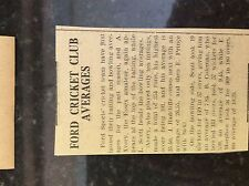 M3-9a ephemera 1941 dagenham ww2 article ford sports cricket batting averages