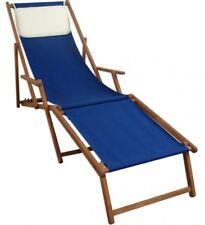 Chaise Longue Lit Soleil Terrasse en Bois Hêtre Repose-Pied Coussin 10-307 pour