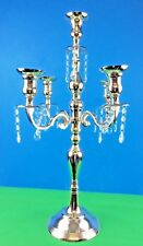 Traditional 5Arm Wedding Candelabra w Crystal Beads Silver 45x5x67cm New Large