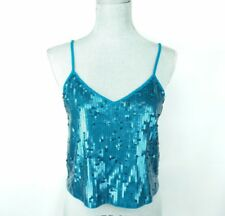 Express womans S tank sequin blue spaghetti strap New MSRP $34.90 cute I5-16