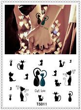 Cat Love Temporary Tattoo Sticker DIY Keep 3-5 days Waterproof 14x9cm TS011