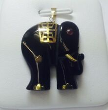 14K Gold Natural Black Onyx elephant charm , pendant for necklace NEW