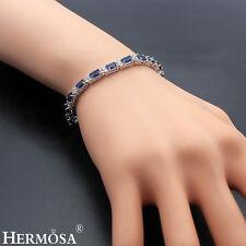 "Hermosa 925 Sterling Silver Blue Sapphire & White Topaz Hot Women Bracelets 8"""