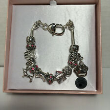 PINK & SILVER DOG DACHSHUND Charm Bracelet Bone House Paws New in Box