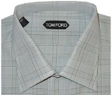 $615 NEW TOM FORD MEDIUM GREEN CHECK MENS HAND MADE DRESS SHIRT EU 44 17.5