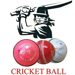 6 PCS Cricket Ball Match Quality Leather Hard Balls Hand Stitched A-Grade 5.5 OZ