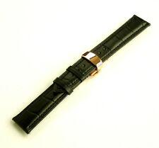 21mm Black Leather Watch Band Strap With Rose Gold Butterfly Clasp