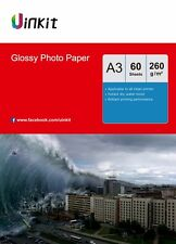A3 Photo Paper High Glossy Inkjet Paper Print  260Gsm - 60 Sheets Uinkit