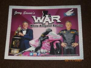 "2017 JERRY SAVOIE WHITE ALLIGATOR ""PINK"" PRO STOCK MOTORCYCLE NHRA POSTCARD"