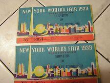 New York Worlds Fair 1939 Tickets Lot of 2