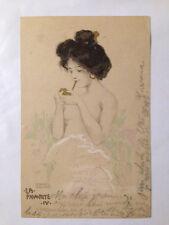cpa illustrateur Kirchner raphael femme art nouveau dessin fumeuse cigarette or