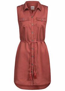 B20052186 Damen Only Kleid kurz mit Knopfleiste OHNE Bindegürtel rot