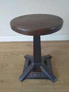 Vintage Singer cast iron industrial adjustable stool mahogany top (1 of 2)