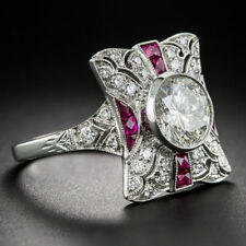 Round Cut Art Deco Engagement Ring Silver 2.25 Ct Cz White & Red Ruby Vintage