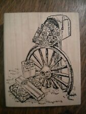 Large Rubber Stamp with Mailbox, Wagon Wheel and gifts, stamp very good cond