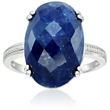 Pinctore Sterling Silver Opaque Blue Sapphire Solitaire Engagement Ring, Size 7