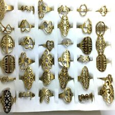 Wholesale 50Pcs Assorted Gold stainless steel rings Women Men Ring Jewelry lots