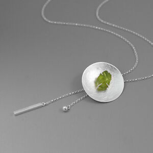 Unique Natural Stone Round Necklace for Women Solid 925 Sterling Silver Jewelry