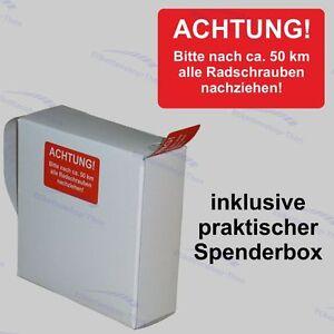500 Serviceaufkleber - Reifen, Räder, Radschrauben nachziehen - inkl. Spenderbox