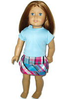 Blue Shirt Plaid Skirt fits American Girl dolls 18 inch Doll Clothes