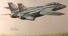 George Sperl F-14 Tomcat Watercolor Signed Print metal frame