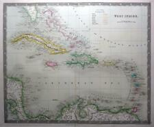 WEST INDIES  CARIBBEAN BY DOWER TEESDALE  GENUINE  MAP ORIGINAL HAND COLOUR 1844