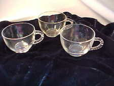 Federal Glass Cups Lot of 3 Homestead Pattern Fits Snack Plates Beaded Handle