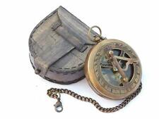 Steampunk Accessory Sun Clock Brass Sundial Compass with Chain & Leather Case