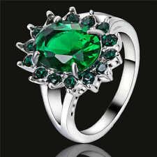 Women's Emerald fashion 18K white gold filled jewelry wedding rings size 6