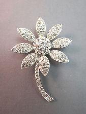 VTG Weiss Flower Brooch Clear White Rhinestones Petals Silver Tone Rhodium Plate