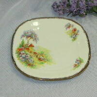 """ALFRED MEAKIN ROYAL MARIGOLD 9"""" SQUARE PLATE HOUSE BRIDGE PEOPLE FLOWERS GOLD"""