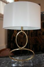 """NEW MODERN 27"""" BRUSHED GOLD METAL OVAL LOOP TABLE LAMP w/ Oval Shade"""