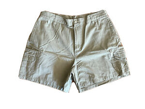 Columbia Women's Cotton Outdoor Dark Beige Shorts Size Large Cargo Pockets