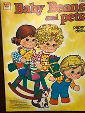 Vintage Paper Dolls Uncut Book of Mattel's Baby Beans and Pets, Whitman 1978