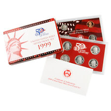 1999 UNITED STATES MINT SILVER PROOF SET WITH BOX AND CoA