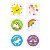 Kids Temporary Tattoos Rainbow Unicorns Party Favours Pack of 36 Free Postage