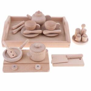 21 pcs Kids Wooden Kitchen Cooking Play Tea Set Pretend Play Kids Childrens Toy
