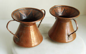 2 Copper Jugs with Handles 12cm Tall