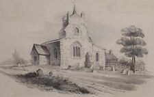 c1890 ORIGINAL ARTWORK DRAWING SKETCH - UNSIGNED - CHURCH